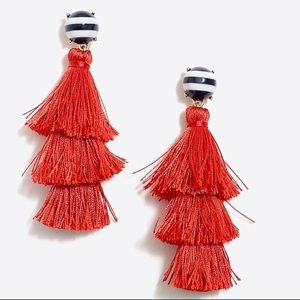 NWT J. Crew Striped And Solid Tassel Earrings